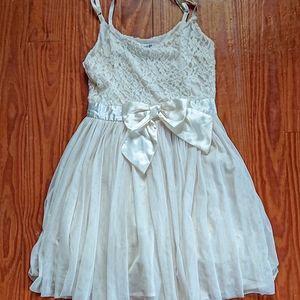 Forever 21 Cream White Lace Satin Dress